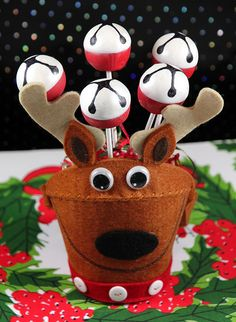 JIngle Bell Reindeer Cake Pops    Chocolate Cherry cake pop with cherry and marshmallow flavored candy coating, simple but fun!