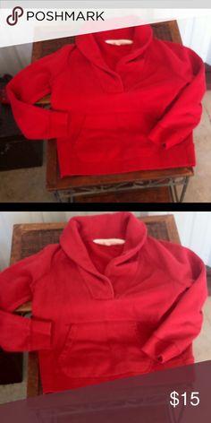 J. Crew shawl collar sweatshirt red size S❤️ J Crew shawl collar sweatshirt red size S.  Front kangaroo pocket. J. Crew Tops Sweatshirts & Hoodies