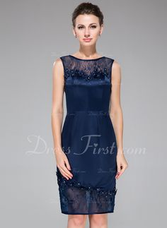 Sheath/Column Scoop Neck Knee-Length Satin Lace Cocktail Dress With Beading Flower(s) Sequins (016050422) - DressFirst