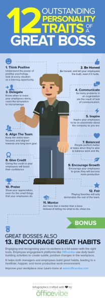 12 Personality Traits of a Great Boss [Infographic]...interesting how so few bosses are merely bosses and not leaders...KC