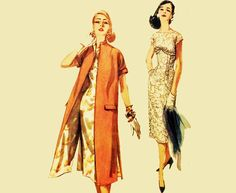 Vintage 50s Dress Pattern KIMONO Duster COAT & Empire Waist Wiggle Dress Mad Men Cocktail Dress Pattern Simplicity 1638 Size 12