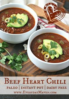 Use your Instant Pot to make this flavorful Beef Heart Chili and increase your consumption of nutrient dense organ meats in a snap! Valentine's Day is tomorrowand I have hearts of all kinds on my mind including beef heart. Because that's normal right? Onion Recipes, Chili Recipes, Meat Recipes, Paleo Recipes, Cooking Recipes, Beef Heart Recipe, Liver And Onions, Liver Recipes, Gourmet