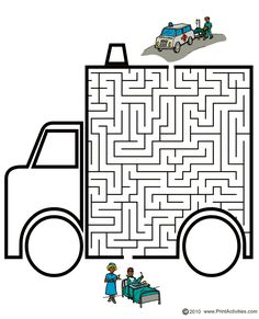 Vehicle Maze of an ambulance. Craft Activities For Kids, Kindergarten Activities, Mazes For Kids Printable, Maze Worksheet, People Who Help Us, Maze Puzzles, Maze Game, English Worksheets For Kids, Transportation Theme