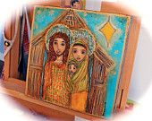 On Sale 33% off at checkout - Golden Stars Nativity - Original Painting on Canvas Folk art by FLOR LARIOS  (12 x 12 INCHES)