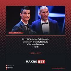 İngiltere'nin başkenti Londra'da geçtiğimiz akşam düzenlenen 2017 FIFA Futbol Ödülleri'nde, yılın en iyi futbolcu kategorisinde Lionel #Messi, #Neymar ve Cristiano #Ronaldo'nun aday gösterildiği yarıştan Ronaldo ödüle layık görüldü. http://makrobet12.com