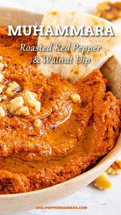 This savory dip recipe has oven-roasted red peppers and a pop of flavor is added with pomegranate juice and walnuts. Muhammara is an easy, authentic appetizer from the Middle East. Turkish Recipes, Mexican Food Recipes, Vegetarian Recipes, Snack Recipes, Cooking Recipes, Easy Lebanese Recipes, Indian Dessert Recipes, Health Recipes, Dip Recipes