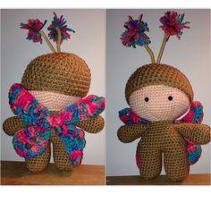 CROCHET - BIG HEAD DOLL - BABYDOLL YO-YO - Butterfly Big Head Baby Doll