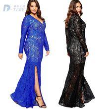 3XL-8XL plus size women V neck hollow lace long dress elegant women floor- length vintage sexy lace dresses black blue big size 7c9a21e59507