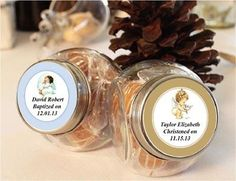 Baptism Christening Gifts Photo Party Mini Glass Candy Jars Favors