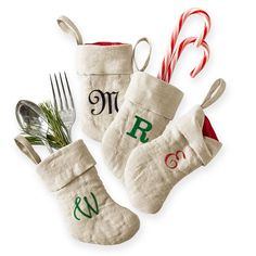 Mini linen stocking - use for table setting, or gift card giving. Monogram available.   Marc & Graham $12 ea. or set of 4 for $45