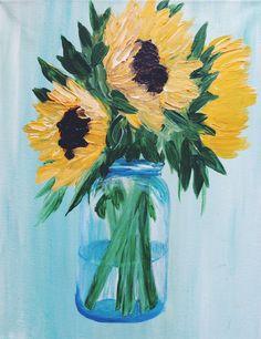 Sunflowers in a Mason Jar Mason Jar Art, Paint Strokes, Painted Mason Jars, Paint Party, Sunflowers, Clever, Paint Mason Jars