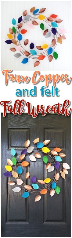 DIY Faux Copper and Felt Leaves Fall Wreath Decoration Tutorial - Pretty Indoor or Outdoor Do it Yourself Paper Crafts Project Autumn Wreath Easy Decoration