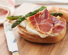 PHILLY and Prosciutto Bagels with Grilled Asparagus - poached egg