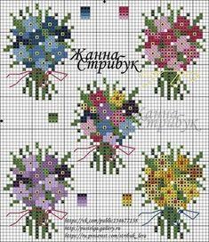 Bouquet charts Tiny Cross Stitch, Cross Stitch Cards, Cross Stitch Flowers, Cross Stitch Designs, Cross Stitching, Cross Stitch Embroidery, Embroidery Patterns, Cross Stitch Patterns, Broderie Simple