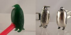 penguin wax carving & finished silver cufflinks