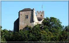 Planté sur un rocher, le château fort de Vertrieu en Isère surveille toujours le petit bourg et surtout l'autre coté de la rivière. Point de fioriture architecturale dans cette construction médiévale car sa fonction fut de surveiller le Duché de Savoie, territoire ennemi des Dauphinois.