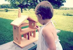 Wooden toy dollhouse Waldorf toy recycled wood by AtelierSaintCerf