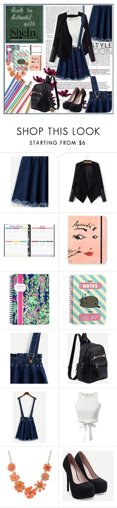 """""""Back to School with Demin Strap Skirt"""" by karies ❤ liked on Polyvore featuring Kate Spade, Lilly Pulitzer, Pusheen, WithChic and Shourouk"""