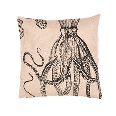 Nautical fun design with a black octopus stenciled on the corner of this beach cottage ready burlap pillow.