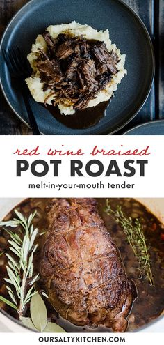 Pot roast is the definition of comfort food. Tender, fall apart chunks of chuck roast over mashed potatoes, smothered with red wine gravy? Yes please. As much as I love my slow cooker, I always braise my pot roast in the oven. You can't beat the texture and flavor that results from browning in a dutch oven on the stove top, and then slow roasting in the oven. Absolute perfection! You need this red wine post roast recipfor Sunday dinner asap! #potroast #dinner #castiron #beef #sundaydinner Fall Recipes, Crockpot Recipes, Great Recipes, Whole Food Recipes, Cooking Recipes, Drink Recipes, Yummy Recipes, Dutch Oven Pot Roast, Perfect Pot Roast