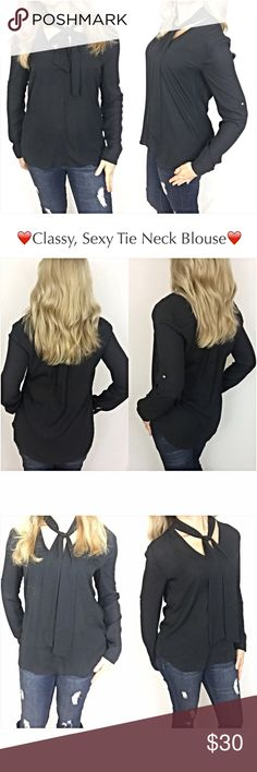 """✨SALE Sexy Choker Tie Neck Blouse Black Top S L Absolutely gorgeous black tie neck Blouse. Be classy & sexy wearing this top with your favorite skirt, pants or denim. The versatility is endless - tie the neck in a bow or a knot. Gold buttons at cuff & midsleeve. 100% Polyester. Semi-sheer, but can be worn with bra alone as modeled.   Small Bust 32-34 Length 26.5""""  Large Bust 36-38 Length 27.5"""" Tops Blouses"""