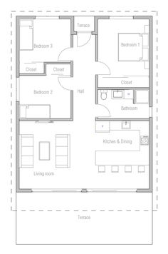 New Home Small House Plan. Modern House Plan to Modern Family. Condo Floor Plans, Small House Floor Plans, Dream House Plans, Modern House Plans, Small House Plans Under 1000 Sq Ft, The Plan, How To Plan, Small House Kits, Small House Design