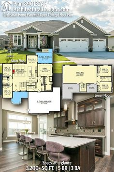 Plan Craftsman Home Plan with Open Concept Floor Plan Architectural Designs Craftsman Home Plan offers 5 bedrooms, 3 bathrooms and + sq. Craftsman House Plans, New House Plans, Dream House Plans, House Floor Plans, My Dream Home, Craftsman Exterior, Ranch House Plans, The Plan, How To Plan