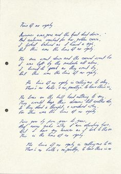 Time of No Reply, in Nick Drake's own handwriting……….