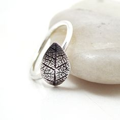 SUMMER SALE Sterling Silver Leaf Ring Oxidized Sterling Silver Bohemian Minimalist Delicate Jewelry - Leaflet Ring. $34.00, via Etsy.