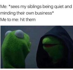 many memes describe me a human. Funny Relatable Memes, Funny Posts, Funny Quotes, Hilarious Sayings, Hilarious Memes, Life Quotes, Growing Up With Siblings, Sibling Memes, Siblings Funny