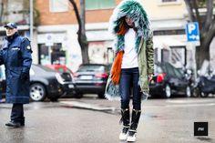 Anna Kolomoets wearing Nike by Riccardo Tisci in Milan Fashion Week Fall Winter 2015.