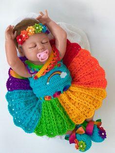 Baby crochet patterns Rainbow Baby dress by CutenCuddlyOutfits