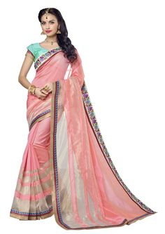 Lovely Light Pink and Organza Tissue Silk Saree SJV-112-12 This is a beautiful light pink silk saree. This can be worn on any of the Indian wedding or any Indian ceremony. Wearing this sari will make