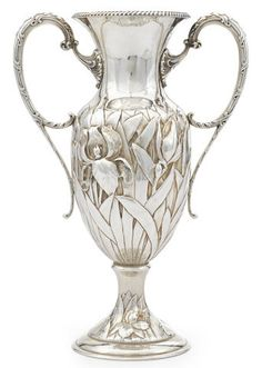 A very nice Gilded Age NYC, sterling silver  Art Nouveau iris-decorated two-handled vase. By: Black, Starr & Frost, New York, NY,  late 19th/early 20th century. {cwl} ~~ (Bonhams)