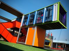 Multicolor Recycled Shipping Containers Provide a Bright Learn...
