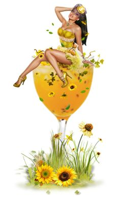 """Cocktail Dolls - Sunflower Simmer"" by girlinthebigbox ❤ liked on Polyvore featuring art, Summer, cocktail, fantasy, sunflower and imagination"