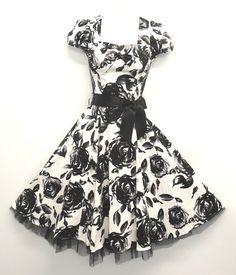 Stunning Black and White WWII 1940's Style Roses Tea Swing Dress 8 18 | eBay