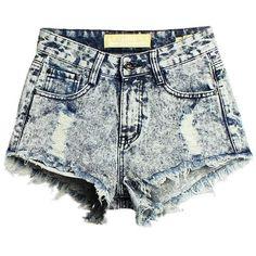 Women High Wasit Pokect Broken Hole Irregular Hem Denim Shorts ($24) ❤ liked on Polyvore featuring shorts, bottoms, denim short shorts, denim shorts, jean shorts and short jean shorts