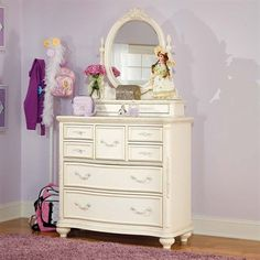 Lea Industries Jessica McClintock Bureau with Mirror - Home Furniture Showroom