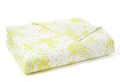 D. Porthault Mimosa Queen Printed Duvet Cover, Yellow