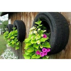 Recycled tires for planting