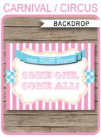 """Carnival Party Backdrop Sign – """"Come One, Come All"""" – pink/aqua"""