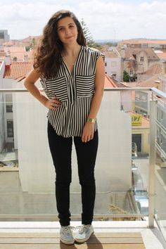 Mariana R. of Portugal Steps out in Stripes