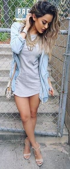 Lulu's Chambray Jacket, Gray Long tee, Gray Sandals |Christen Dominique