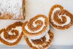 Pumpkin Roll - Delicious layers of fluffy pumpkin cake and sweet cream cheese filling swirled together to make the ultimate treat! Perfect to serve during the fall season. This easy pumpkin roll recipe is always a huge hit! Cream Cheese Rolls Recipe, Pumpkin Cream Cheese Roll, Roll Recipe, Pumpkin Recipes, Cake Recipes, Sweets Recipes, Bread Recipes, Pumpkin Dessert, Pumpkin Spice Latte