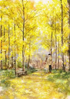 Couple Illustration, Illustration Art, Couple Painting, Cute Couple Art, Forest Girl, Couple Drawings, Anime Scenery, Cute Anime Couples, Love Images
