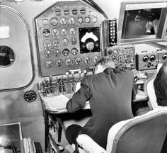 Flight Engineer's station on the upper (or: 'Flight') deck of a Pan American Airways Boeing B-314 Clipper flying boat.