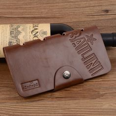 Hot Promotion! Classic Vintage Male Hasp Hunter Bailini Brand Long Brown Leather Wallet Man Purse Card Holder Clutch for Men