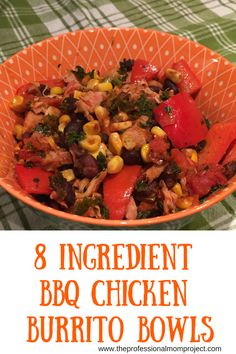 If you love Mexican food check out these easy, healthy and gluten free 8 Ingredient BBQ Chicken Burrito Bowls. Perfect for dinner tonight!