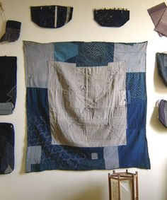 A Wall of Antique Japanese Sashiko Stitched Indigo Folk Textiles | Sri Threads